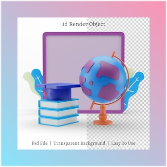 3d illustration of white board and glob with back to school concept