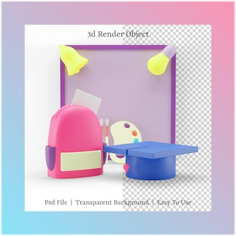 3d illustration of whiteboard and graduation hat with back to school concept
