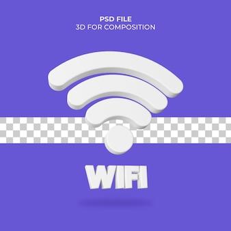Значок wi-fi 3d иллюстрации premium psd