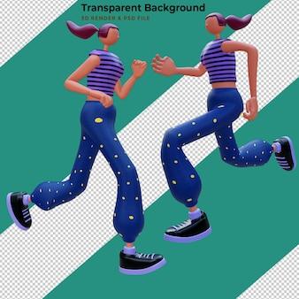 Donna di illustrazione 3d allenamento ed esercizi in palestra