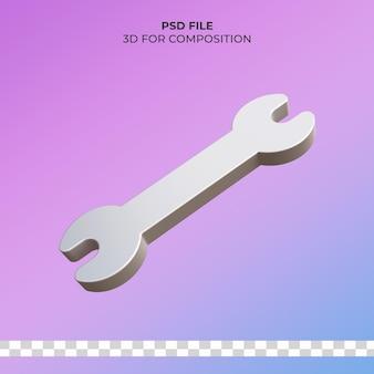 Значок гаечного ключа 3d иллюстрации premium psd