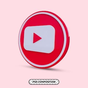 3d illustration youtube logo isolated