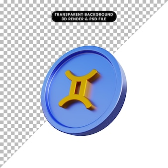 コインジェミニの3dイラスト干支星占いのシンボル