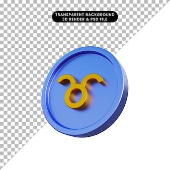 コインおうし座の3dイラスト干支星占いのシンボル