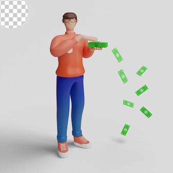 돈을 쓰는 3d 삽화 만화 그림 개념