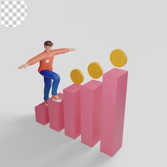 3d 그림 행복한 젊은 사업가가 부 투자자와 성공한 사람들을 향해 걷고 있습니다.