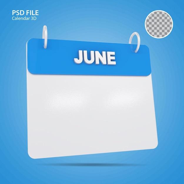 3d иллюстрации июнь календарь синий