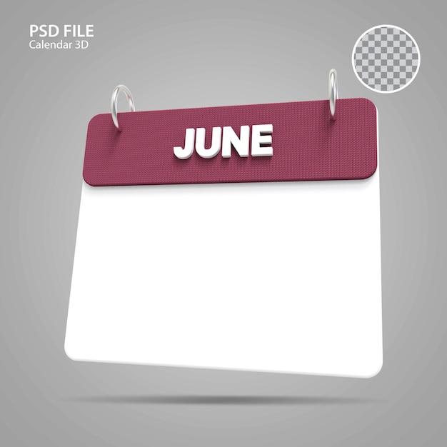3d иллюстрации июнь календарь