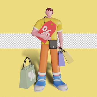 幸せな人々の3dイラストが店で買い物をしています