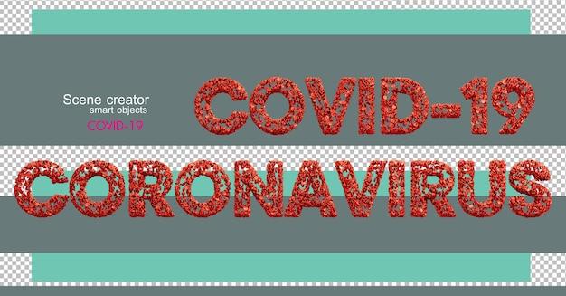 Covid-19와 함께 다양한 숫자와 문자의 3d 일러스트