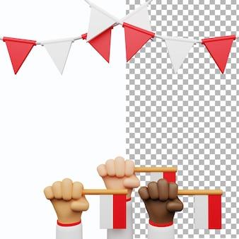 3d 인도네시아 독립 기념일 세트 템플릿 손 제스처 빨간색 흰색 깃발