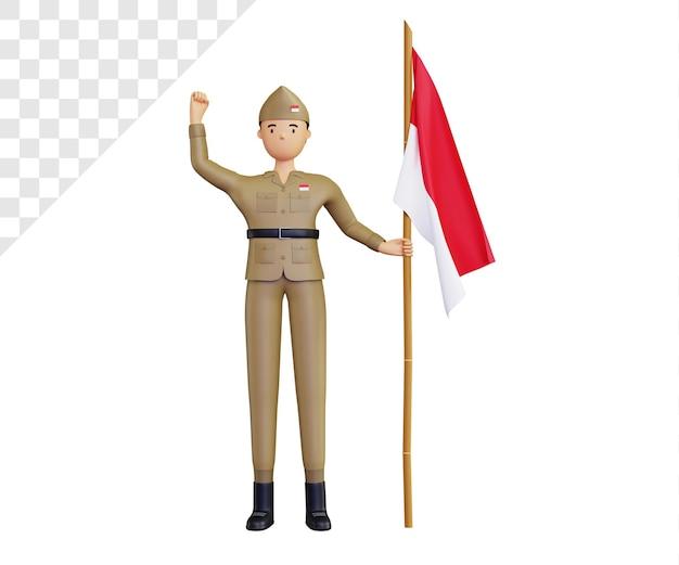 씩씩한 군대 캐릭터와 함께 3d 인도네시아 독립 기념일