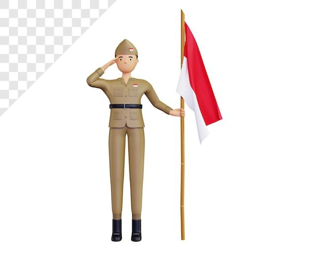 날카롭게 대나무와 인도네시아 국기를 들고 군대 캐릭터와 3d 인도네시아 독립 기념일