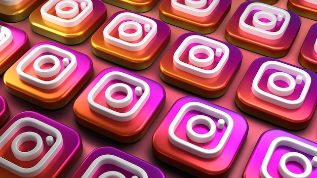 3d instagram app icon rendering