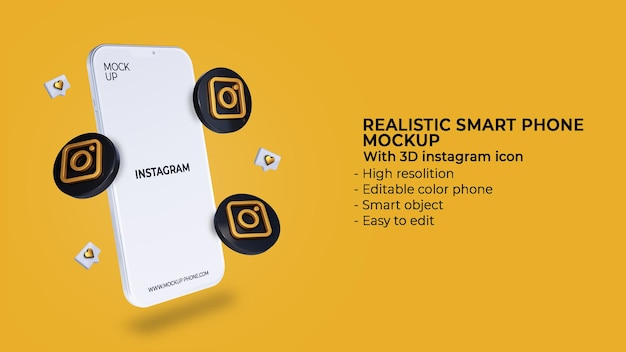 3d instagram icons social media with mobile phone mockup