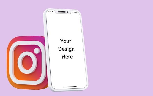 携帯電話のモックアップと3dinstagramアイコンソーシャルメディア