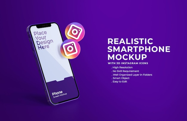 3d instagram icons with mobile screen mockup