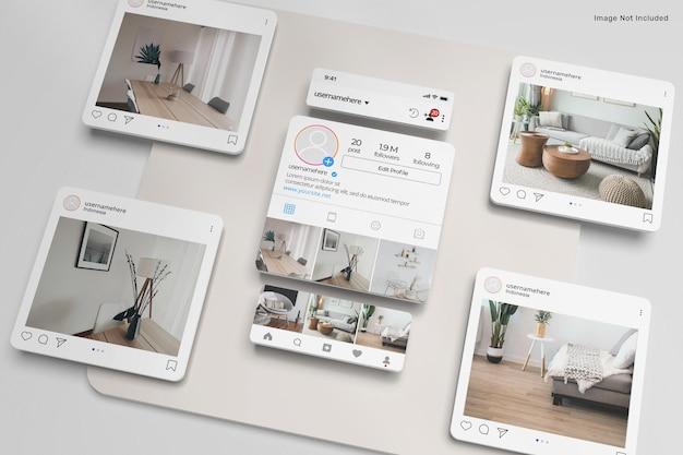3d макет поста интерфейса instagram