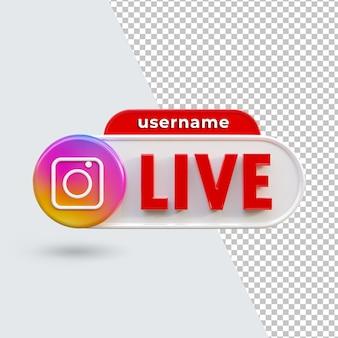 3d instagram live button icon render