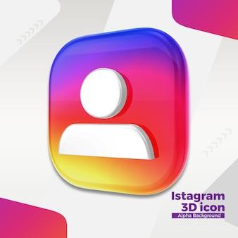 3d логотип instagram для социальных сетей Premium Psd