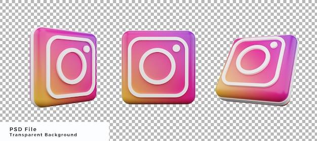 Набор элементов дизайна значка логотипа 3d instagram с различными ракурсами высокого качества