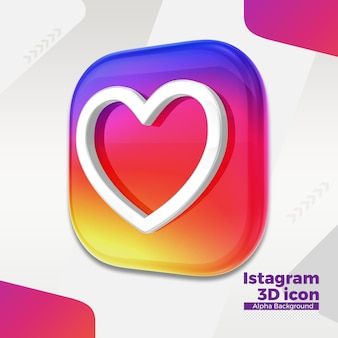 3d instagram logo for social media