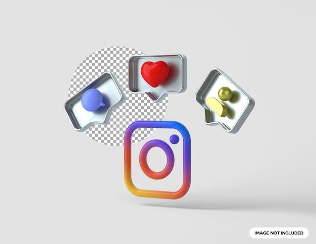 팔로워 댓글과 좋아요 버튼이 있는 3d 인스타그램 로고