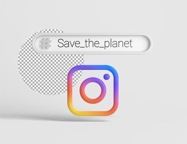 해시태그가 있는 3d 인스타그램 로고
