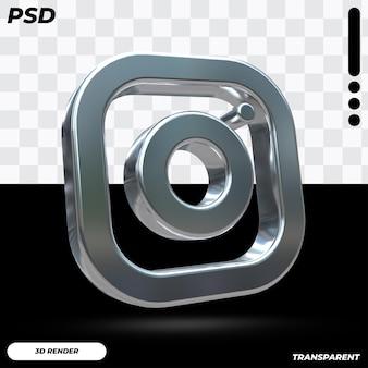 3d instagram logo with metallic color