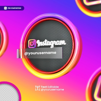 3d instagram mockup logo for social media
