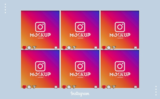 3d instagram mockup with feed screens