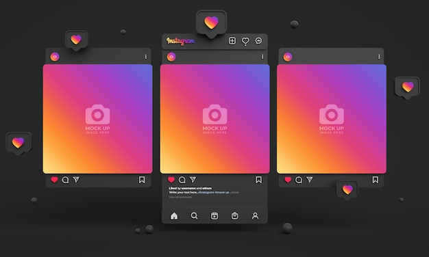 ダークインターフェースと複数のinstagramフィードを備えたソーシャルメディアの3dinstagram投稿モックアップ