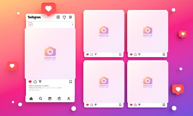明るくカラフルなインターフェースと複数のinstagramフィードを備えたソーシャルメディア用の3dinstagram投稿モックアップ