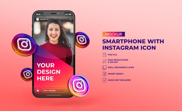3d instagram social media icons with mobile screen smartphone mockup