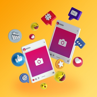 3d instagram social media post illustration