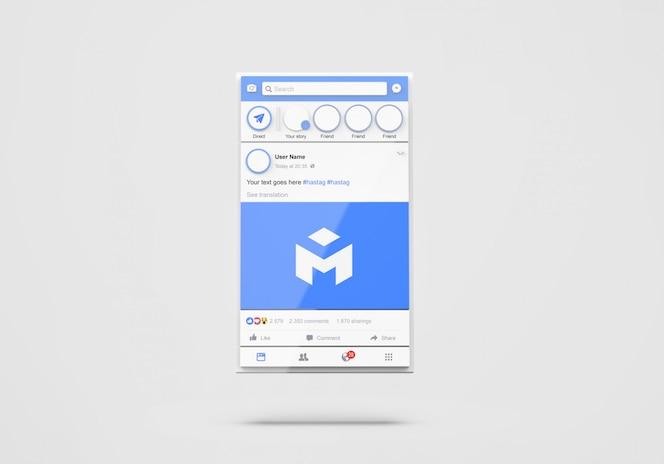 소셜 미디어 페이스 북 목업의 3d 인터페이스