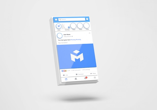 3d interface of social media facebook mockup