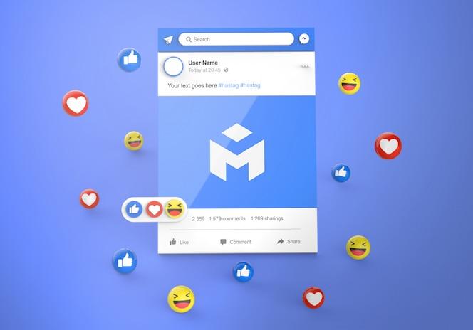 이모티콘 반응 모형이 포함 된 3d 인터페이스 소셜 미디어 facebook