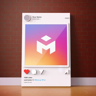 Шаблон макета instagram для социальных сетей 3d интерфейс