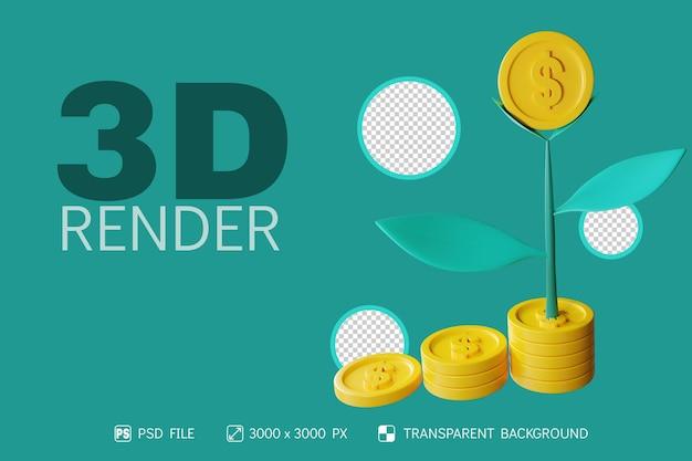 コインと木の孤立した背景を持つ3d投資デザイン