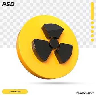 3d дизайн символа опасности ионизирующего излучения изолированы