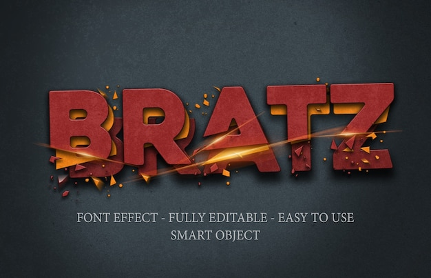 3d iron crushed and cut text effect template