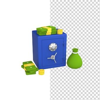 3d железный сейф с паролем и механическим замком, деньги, доллары и монеты вокруг модели render Premium Psd