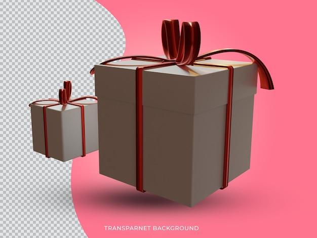 투명 한 배경에서 3d 격리 된 크리스마스 선물 상자