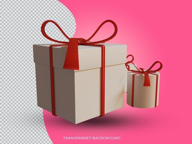 투명 한 배경에서 3d 격리 된 크리스마스 흰색과 빨간색 선물 상자