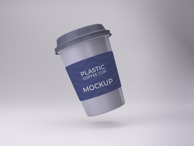 3d isolated premium quality plastic coffee cup mockup design