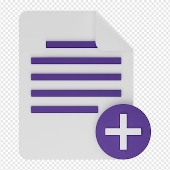 3d isolated render of add document icon psd