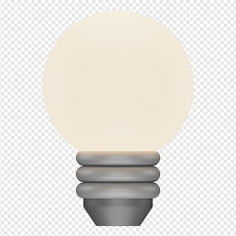 3d isolated render of bulb icon