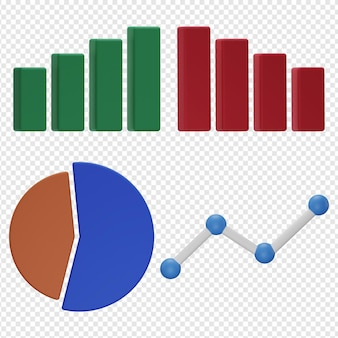 3d isolated render of chart graph icon psd