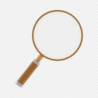 3d isolated render of magnifying glass icon psd